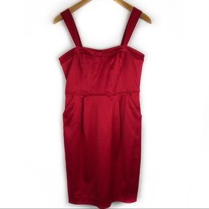 Express Womens Red Silk Bodycon Dress Size 6 NEW